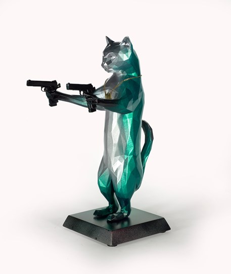 Rebel With The Paws (Green Hornet) by Maxim - Original Sculpture